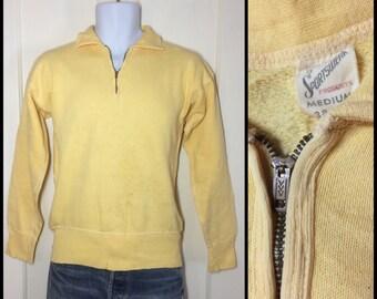 distressed 1950s pastel Yellow half zip collar Sweatshirt size Medium brass zipper flat stitching long cuffs Quality Sportswear all cotton