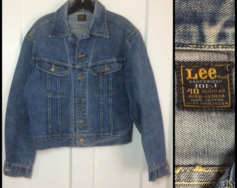 Distressed 1970's Lee 101-J Jacket size 40 patina Blue Jean 2 pocket Union Made in USA worn soft #1906