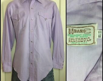1970's H Bar C Lavender Cowboy Western snap Shirt size Small HBarC California Rancher Rancher pastel purple