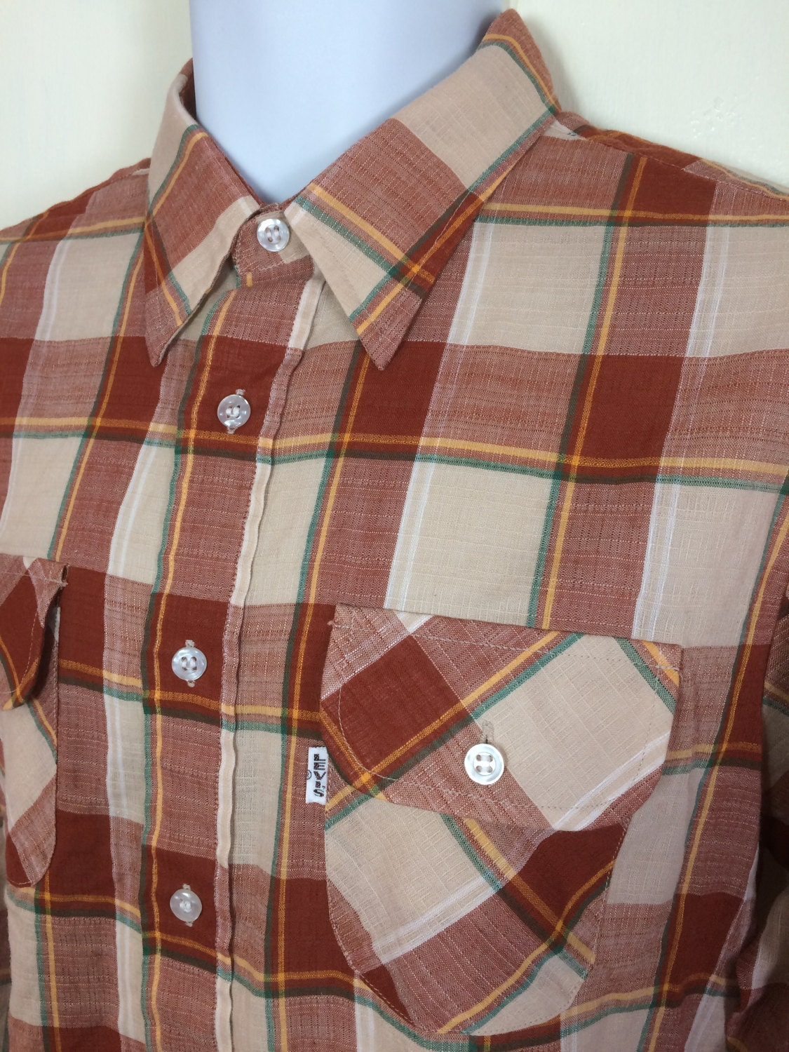 Rust and beige gauze shirt, big E, size large