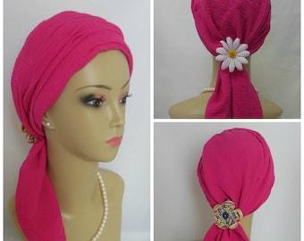 "Fuchsia Scarf Turban Gauze Volumizer Chemo Headwear 18"" Ties, Cancer Patient Hat, Hair Covering, Tichel Mitpachat Head Wrap, Beach Head Wear"