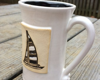 Ready to Ship: Sailboat Mug in Black and White, 15 ounce