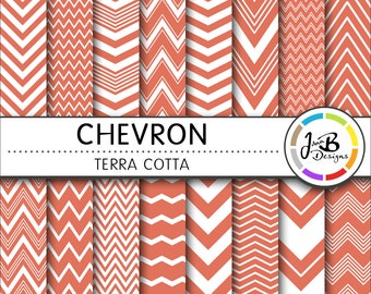 Chevron Digital Paper, Terra Cotta, Orange, White, Chevron, Zig Zag, Digital Paper, Digital Download, Scrapbook Paper, Digital Paper Pack