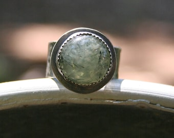 Prehinite Green Sterling Silver Oxidized Large Band Boho Gypsy Silversmith Artisan Southwestern Ring