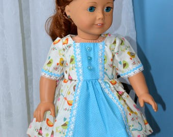18 Inch Doll Clothes Bird Print Short Sleeve Dress and Matching Panties by SEWSWEETDAISY