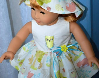 18 Inch Doll Clothes Three Piece Outfit Sleeveless Dress, Matching Panties and Matching Floppy Brimmed Hat by SEWSWEETDAISY