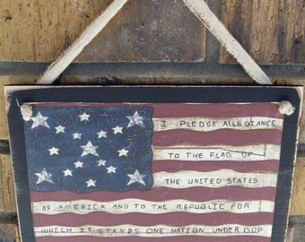 American Flag With Pledge Wall Plaque Primitive Patriotic Americana Rustic Sign
