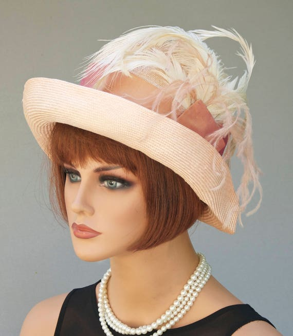 Derby hat, Miss Fisher Hat, Women's Ladies Formal Hat, Women's Peach Hat, Feather Hat, 1920s Cloche, Downton Abbey Hat Melbourne Cup Hat