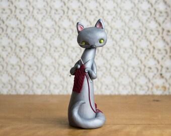 Knitting Cat Lady by Bonjour Poupette