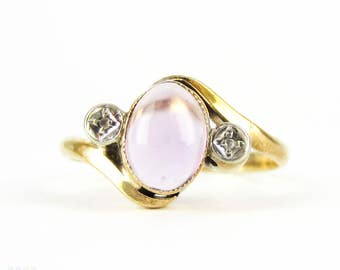 Vintage Amethyst & Diamond Ring, Bypass Style Purple Amethyst Cabochon and Rose Cut Diamond Three Stone Ring, 9 Carat Gold.