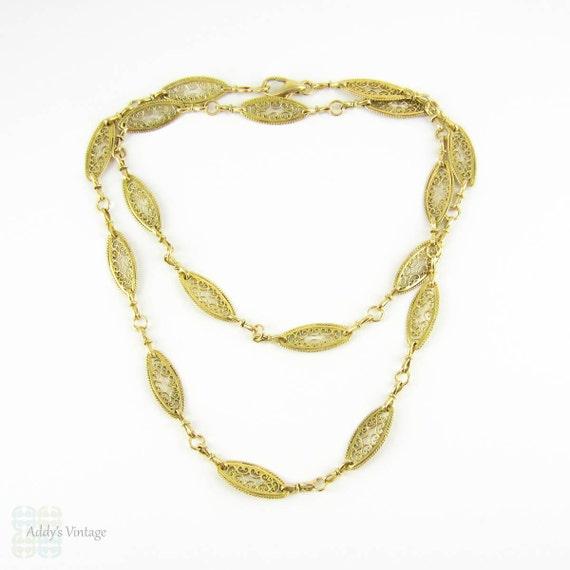 vintage 18 carat gold filigree link chain necklace 63 5 cm