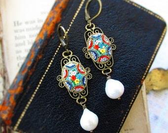 On Sale La Dolce Vita,Vintage Micro Mosaic Italian Glass Floral & Filigree ; Genuine Teardrop Baroque Pearl Assemblage Earrings, Hollywood H