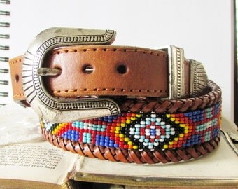 Go Cowgirl,Vintage 1990s Rainbow Beaded Leather Western,Rodeo size 32, Cowgirl belt from Wild Hollyberry for Hollywood Hillbilly