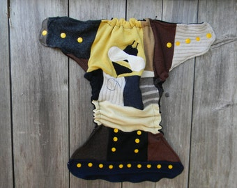 Upcycled Wool Nappy Cover Diaper Wrap Cloth Diaper Cover One Size Fits Most Crazy Patchwork Scrappy With Bumble Bee Applique/ Black