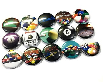 "Billards, 1"" Button, Pool Button, Pool Pin, Pool Party, Billard Party Favor, Billards Gift, Billards Flatback, Pool Pinback, Pool Balls, Pin"