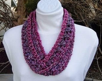 Small Summer Infinity SCARF, Pink Purple Gray, COLOR & LENGTH Options, Soft Crochet Knit, Skinny Lightweight Cowl, Ready to Ship in 2 Days