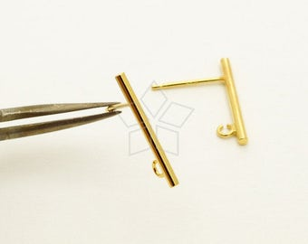 SV-213-GD / 4 Pcs - Simple Stick Stud Earring Findings, Minimalist Bar Post Studs, Gold Plated 925 Sterling Silver / 17mm