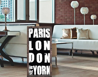Paris London New York Sign| Wooden Typography | Subway New York| London| Paris| New York | Fashion Wall Art|Typography |Fashion Cities