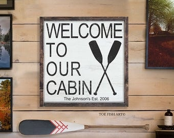 Welcome to Our Cabin Sign| Custom Name Sign | Established Sign | Lake House Sign | Boat Oar | Personalized Family Name | Established Date