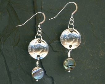 30th Birthday 1987 Dime Earrings 30th Anniversary Gift Coin Jewelry Paua Shell Beads 1987 Dimes Gift for Women