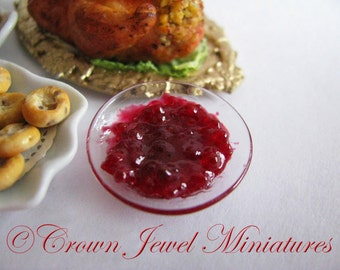 1:12 Fancy Bowl of Whole Cranberry Sauce by IGMA Artisan Robin Brady-Boxwell - Crown Jewel Miniatures