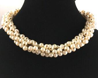 Faux Pearl Choker, Vintage Jewelry, Caviar Necklace, Vintage Necklace, Pearl Necklace, Vintage Choker, Pearl Jewelry, Cream Color Necklace