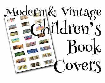 Children's dollhouse book covers, modern & vintage, 1:12, PDF digital file, three sizes, 24 styles, 72 book covers!