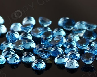 Swiss Blue Topaz Cabochon 6mm Rose Cut Round - 1 cab