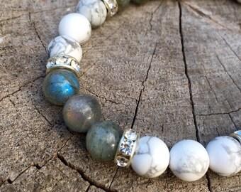 PATIENCE- Grey Labradorite and Howlite Wrist Mala Bracelet.