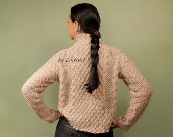 Winter Sweater, Knit Sweater, Women, Cable Knit Pullover, Fashion, Beige Cropped Sweater, Linen & Wool Sweater, Warm Turtleneck Sweater