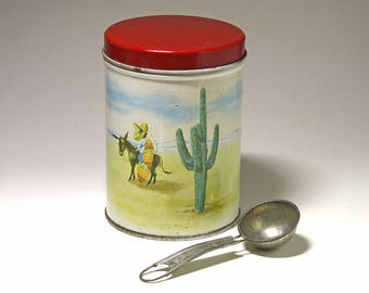 Vintage 1947 Mexican Canister, Dayton Spice Mills Canister, Advertising Canister