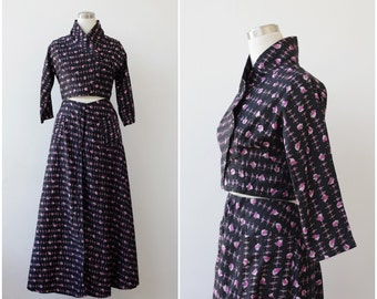 1960's Black Dress, Formal Evening Set, Crop Top Jacket Maxi Skirt Ensemble M