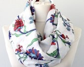 Infinity scarf spring scarf floral scarf traditional Turkish Ottoman scarf iznik ceramic tile motifs tulip  pattern hyacinth flower print