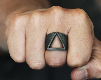 Mens Black Silver Triangle Ring Open Geometric Personalize Man Rings
