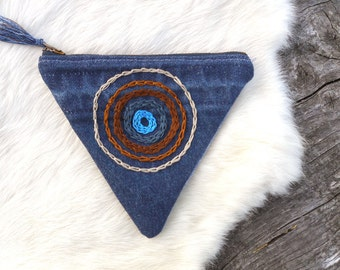 Hand Embroidered Denim Coin Pouch - recycled jeans patchwork pouch with zipper, fully lined