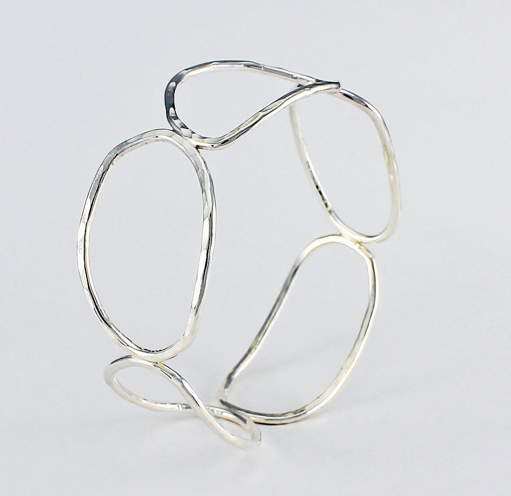 Handcrafted Sterling Silver Wire Potato Chip Links Bangle Bracelet ...