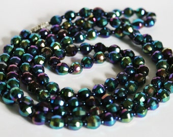 Vintage carnival glass bead necklace.  Long necklace. Blue bead necklace