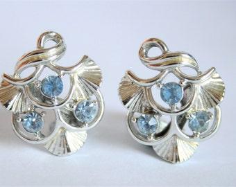 Vintage blue crystal earrings. Clip on earrings