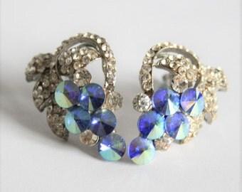 Vintage blue crystal earrings. Rivoli crystals