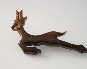 Vintage wooden deer brooch