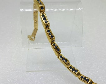 Joan Rivers  Blue Rhinestone Gold tone Bracelet   Ready to Wear Mint Condition Signed