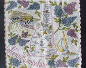 Vintage Hankie New Hampshire State Map Souvenir Many Cities Floral Border
