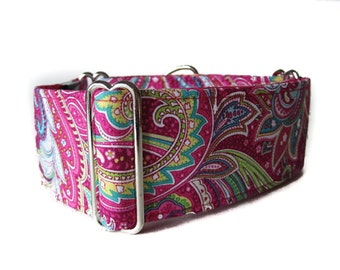 1.5 Inch Martingale Collar, Pink Martingale Collar, Paisley Martingale Collar, Paisley Dog Collar, Made in Canada, Sighthound Collar