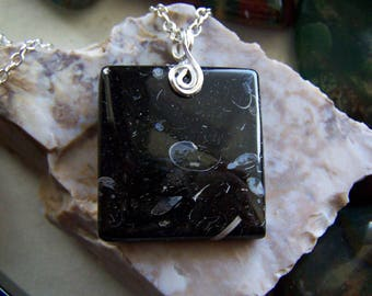Natural Polished Turritella Agate Gemstone Pendant