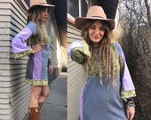 SALE Eco Tunic Shirt, size S/M, eco clothing,urban tunic,patchwork tunic, color block tunic,flare bell tunic, eco tunic,  green tunic Zasra