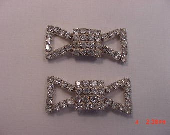 Set Of Two Vintage Rhinestone Bow Shoe Clips  17 - 576