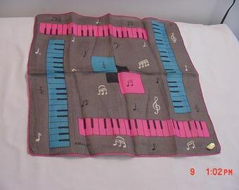 Vintage Rachelle Musical Music Handkerchief  17 - 664