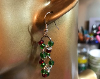 Red, green and clear beaded earrings