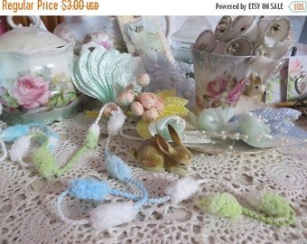 ON SALE Puff Ball Trim-Gree and Blue-Altered Art-Mixed Media-Supplies-5 yards
