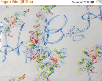 Store Closing SALE Vintage Gift Wrap-Old Stock-Wrapping Paper-Happy Birthday